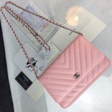 Chanelss Lambskin leather Woc Shoulder Bag 33814 Pink & Silver