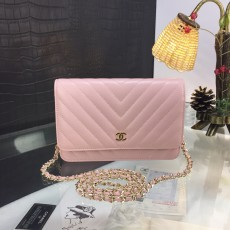 Chanelss Lambskin leather Woc Shoulder Bag 33814 Pink & Gold