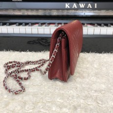 Chanelss Caviar leather Woc Shoulder Bag 33814 Red & Silver
