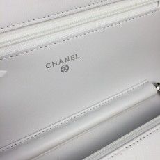 Chanelss Lambskin leather Woc Shoulder Bag 33814 White & Silver