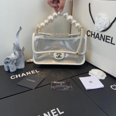 New Chanelss Pearl Quicksand PVC Clear Flap Shoulder Bag AS0520 White