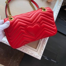 Gucciss GG Medium Marmont Leather Shoulder Bag 443497 Red