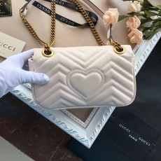 Gucciss GG Small Marmont Leather Shoulder Bag 446744 White