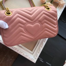 Gucciss GG Medium Marmont Leather Shoulder Bag 443497 Pink