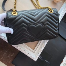 Gucciss GG Medium Marmont Leather Shoulder Bag 443497 Black
