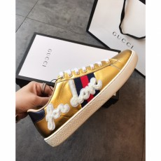 Men's Women's Gucciss Leather Sneakers Shoes 35-44 Gold