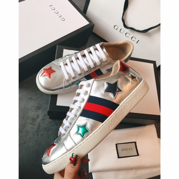 Men's Women's Gucciss Leather Sneakers Shoes 35-44 Silver