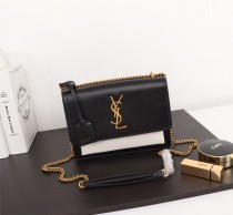 YSL Sunset Handbag Shoulder Bag 442906 Black & White
