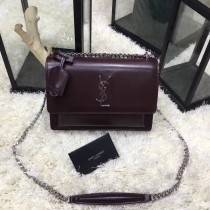 YSL Sunset Handbag Shoulder Bag 442906 Maroon
