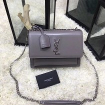 YSL Sunset Handbag Shoulder Bag 442906 Gray