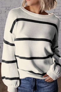 Black O Neck Striped Patchwork knit Striped Long Sleeve  Sweaters & Cardigans SF16005