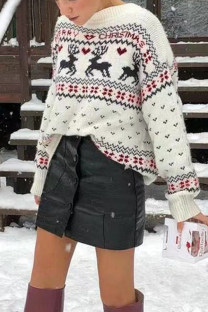 White O Neck Letter Animal Prints knit Others Long Sleeve  Sweaters & Cardigans SF16003