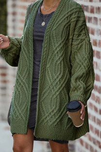 Army Green V Neck Solid Geometric Patchwork Cotton Pure Long Sleeve  Sweaters & Cardigans HC15021