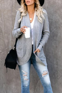 Grey O Neck Solid knit Pure Long Sleeve  Sweaters & Cardigans SF16001