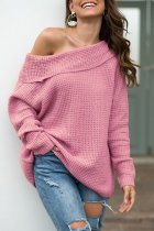 Pink One word collar Solid knit Pure Long Sleeve  Sweaters & Cardigans MMY01024