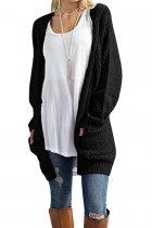 Black V Neck Solid knit Pure Long Sleeve  Sweaters & Cardigans MMY01043