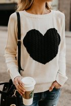 Apricot O Neck Peach Heart knit Others Long Sleeve  Sweaters & Cardigans MMY01036