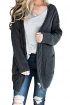 Dark Gray V Neck Solid knit Pure Long Sleeve  Sweaters & Cardigans MMY01043