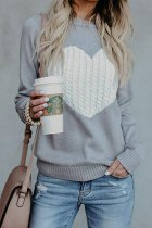 Grey O Neck Peach Heart knit Others Long Sleeve  Sweaters & Cardigans MMY01036