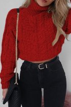 Red Turtleneck Solid crop top Cotton Pure Long Sleeve  Sweaters & Cardigans MMY01022