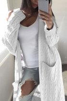 White V Neck Solid Cotton Pure Long Sleeve  Sweaters & Cardigans MMY01040