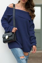 Navy Blue One word collar Solid knit Pure Long Sleeve  Sweaters & Cardigans MMY01024