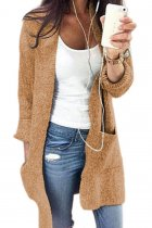 Khaki V Neck Solid Cotton Pure Long Sleeve  Sweaters & Cardigans MMY01038