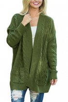 Green V Neck Solid Acrylic Pure Long Sleeve  Sweaters & Cardigans MMY01030