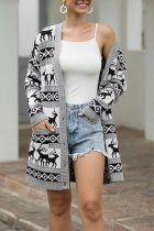 Grey V Neck Animal Prints knit Others Long Sleeve  Sweaters & Cardigans MMY01058