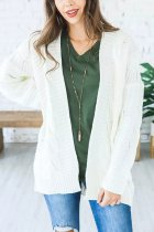 White cardigan Solid Acrylic Pure Long Sleeve  Sweaters & Cardigans MMY01046