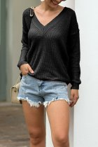 Black V Neck Solid knit Pure Long Sleeve  Sweaters & Cardigans MMY01051