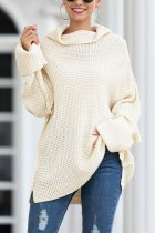 White Turtleneck Split Solid Acrylic Pure Long Sleeve  Sweaters & Cardigans MMY01020