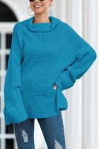Blue Turtleneck Split Solid Acrylic Pure Long Sleeve  Sweaters & Cardigans MMY01020