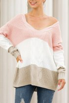Pink V Neck Striped Sticky Striped Long Sleeve  Sweaters & Cardigans MMY01031