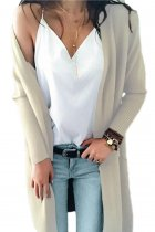 Apricot V Neck Solid Acrylic Pure Long Sleeve  Sweaters & Cardigans MMY01023