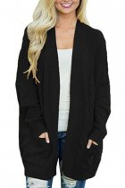 Black V Neck Solid Acrylic Pure Long Sleeve  Sweaters & Cardigans MMY01030