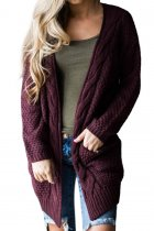 fuchsia V Neck Solid knit Pure Long Sleeve  Sweaters & Cardigans MMY01043