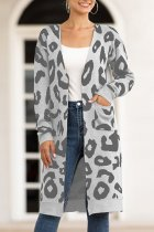Grey V Neck Leopard Cotton Others Long Sleeve  MMY01004