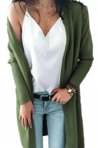Army Green V Neck Solid Acrylic Pure Long Sleeve  Sweaters & Cardigans MMY01023