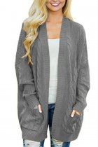 Grey V Neck Solid Acrylic Pure Long Sleeve  Sweaters & Cardigans MMY01030