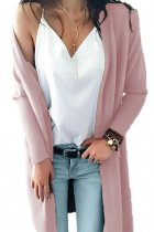 Pink V Neck Solid Acrylic Pure Long Sleeve  Sweaters & Cardigans MMY01023