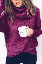 fuchsia Turtleneck Solid knit Pure Long Sleeve  Sweaters & Cardigans MMY01042