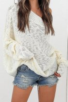 White One word collar Solid Sticky Pure Long Sleeve  Sweaters & Cardigans MMY01025