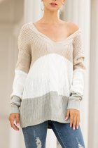Khaki V Neck Striped Sticky Striped Long Sleeve  Sweaters & Cardigans MMY01031