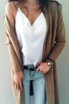 Khaki V Neck Solid Acrylic Pure Long Sleeve  Sweaters & Cardigans MMY01023
