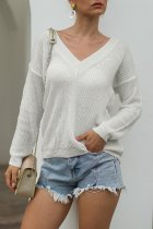 White V Neck Solid knit Pure Long Sleeve  Sweaters & Cardigans MMY01051