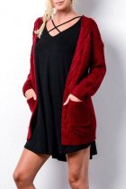 Wine Red V Neck Solid knit Pure Long Sleeve  Sweaters & Cardigans MMY01043