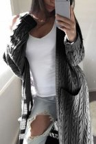 Grey V Neck Solid Cotton Pure Long Sleeve  Sweaters & Cardigans MMY01040
