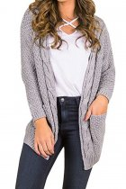 Grey V Neck Solid knit Pure Long Sleeve  Sweaters & Cardigans MMY01043