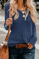 Navy Blue V Neck Solid knit Pure Long Sleeve  Sweaters & Cardigans MMY01050